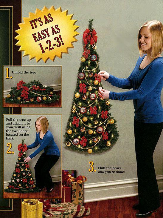 Wall Mounted Artificial Half Christmas Tree | Amazing Christmas Ideas
