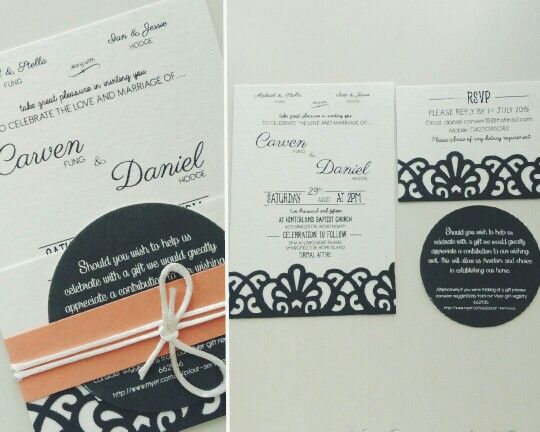 Our wedding invitations:- graphic design by my bridesmaid Julie Kao, printed by Peach & Co. and then i bought a Martha Stewart border punch to add some colour detail and a belly band