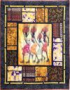 """3rd ~ African Broken Windows (1007) ~ Gail Branca ~ 47""""x56"""" This quilt is a bigger variation of one I entered in the quilt show last year. This year I used a much larger waxed panel and surrounded it on all four sides with """"broken"""" fabric. The panel and fabrics were purchased in Tanzania, Africa when I went to visit my daughter a couple of years ago while she was in the Peace Corps. Machine-pieced. Machine-quilted. Source-""""Asian Window"""" from Willow Brook Quilts."""