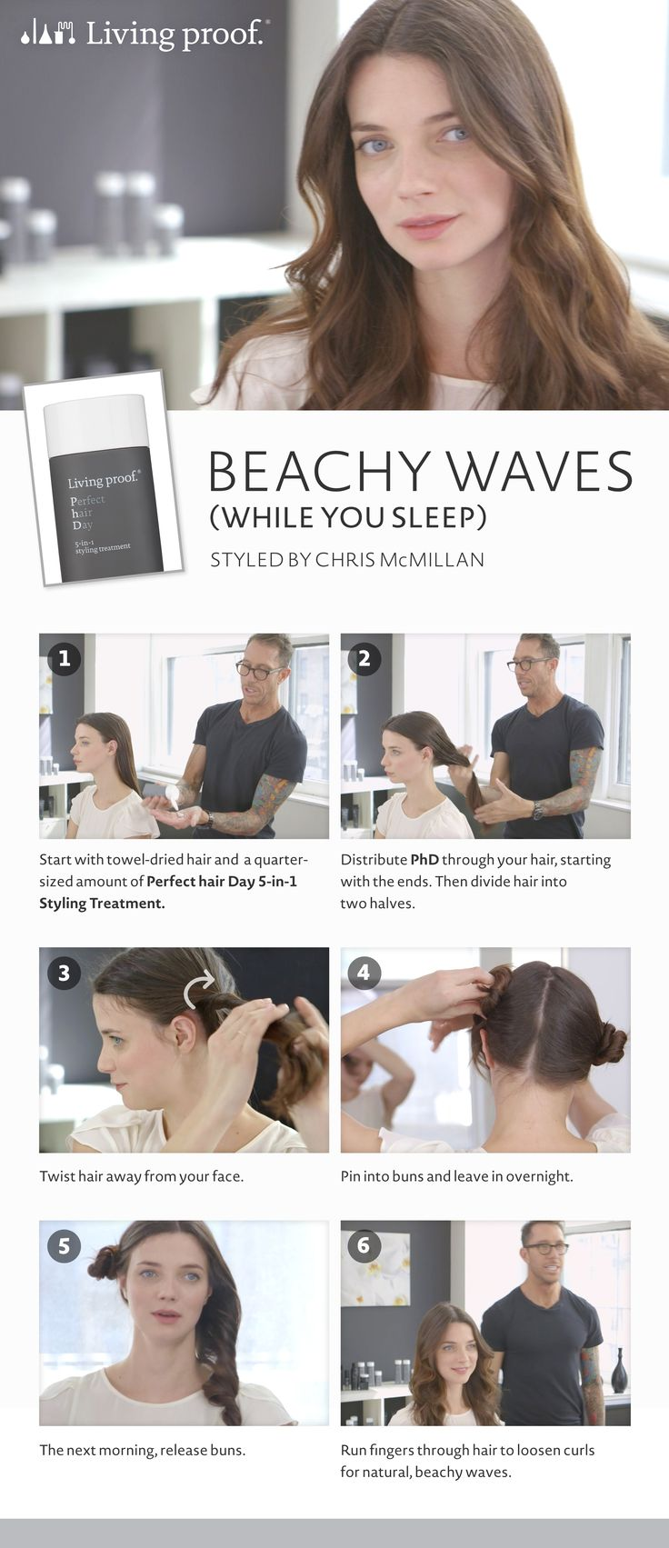 Here's the secret to styling your hair in natural, beachy waves…while you sleep!