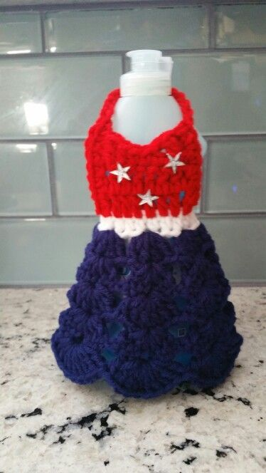 Crochet Dish soap apron cover