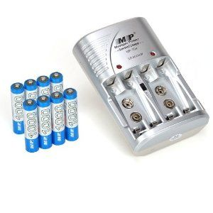 Universal Rechargeable AA/AAA Ni-MH Ni-CD Battery Charger with 8 Rechargeable AAA Batteries by ATC by Atc. $15.68. Fit For 4 *AA/AAA or 2 *6F22 (9 V) Ni-MH/Ni-CD Rechargeable Batteries Specification of battery charger: Input: 110 V / 220 V AC, 50/60 Hz 50 mA Output: 2.4 VDC * 2 150 mA, 9 VDC * 2 20 mA No-load power consumption: 1.5 W MAX Carrying power consumption: 3.5 W MAX Battery full rate: 80% frequency Specification of battery: Battery type:AA / Ni-MH Volt:1.2V Capacity:260...
