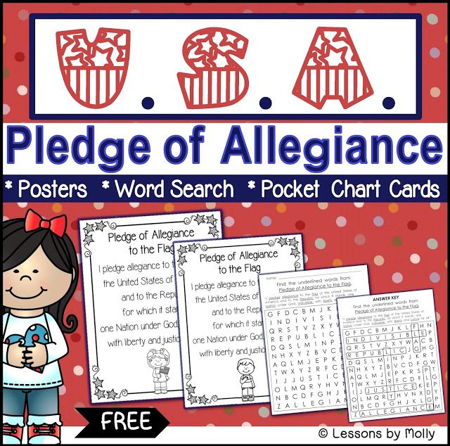Get your students to commit the Pledge of Allegiance to memory!  This free resource included Pledge of Allegiance printable posters, a word search printable, and word cards for the pocket chart.
