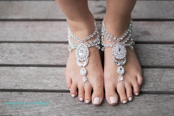 Enchanted barefoot sandals, Discount code: FSPINTEREST. Jewelled anklets, barefoot sandals, barefoot bride, beach wedding, Forever Soles.