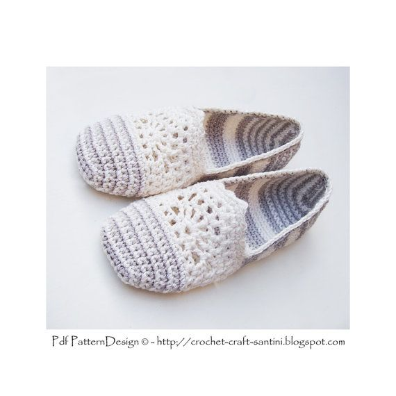 LACE and STRIPE SLIPPERS/ESPADRILLES  **This listing is for a CROCHET PATTERN. You are not buying a finished product! INSTANT DOWNLOAD PDF**  *The basic Crochet Slipper Pattern; No in- or out-soles included* One-piece, toe-up!  White and grey in perfect harmony. Somehow most of us love laces! This one is bold and simple, romantic but modern; Lace combined with stripes! Wonderful to slip into on cool summer evenings.  Make your lace-slippers in your favorite colors!  The simple design of…