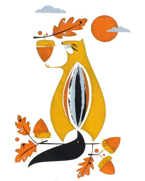 Chipmunk Screenprint by Holly Roach Limited edition Available at www.quirkyfox.co.nz