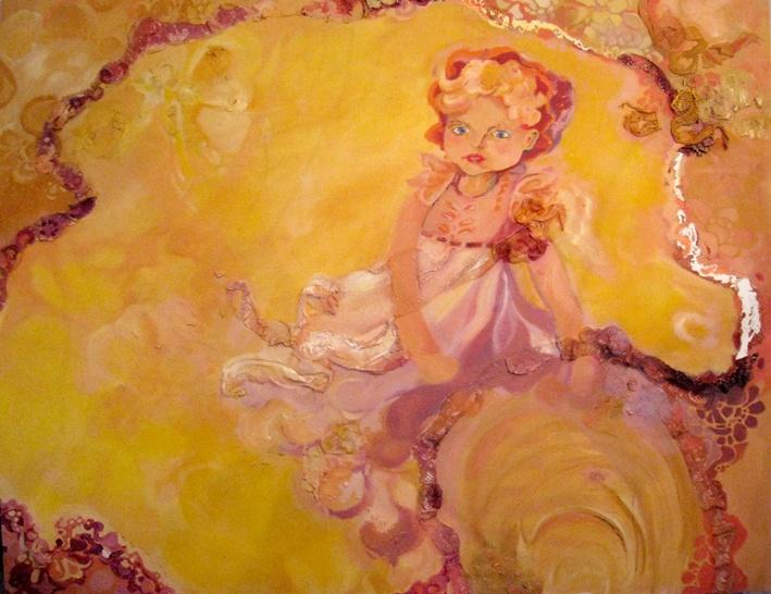 Nukkeressu, The poor Dolly  120 x 100 cm  öljy, sekatekniikka / oil, mixed media