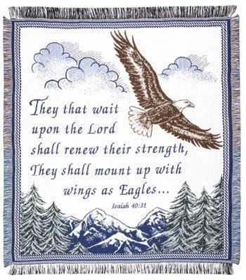 Isaiah Bible Verse 40:31 Woven 2 1/2 layer mid-size throw - With Love Home Decor