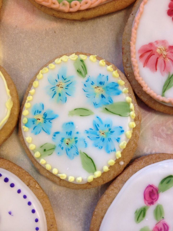 Painted spiced sugar cookies.
