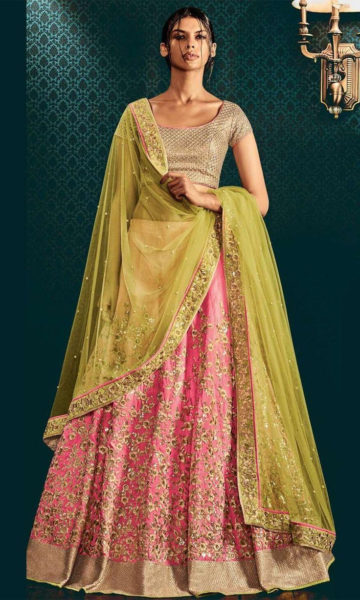 Shop Pink and Green Designer Lehenga Choli (SKU Code : LEHJDSNK5059) Online at IshiMaya Fashion.