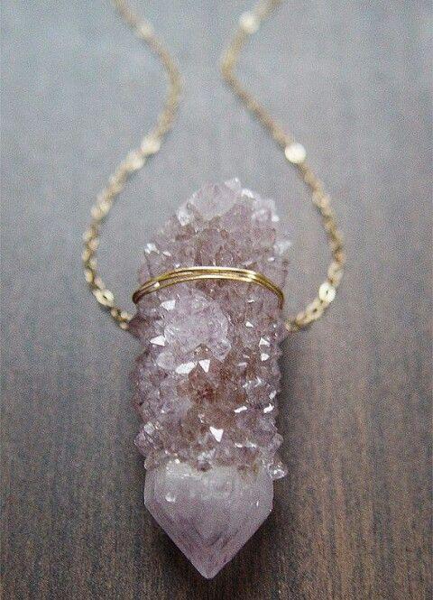 Raw gemstone gold necklace