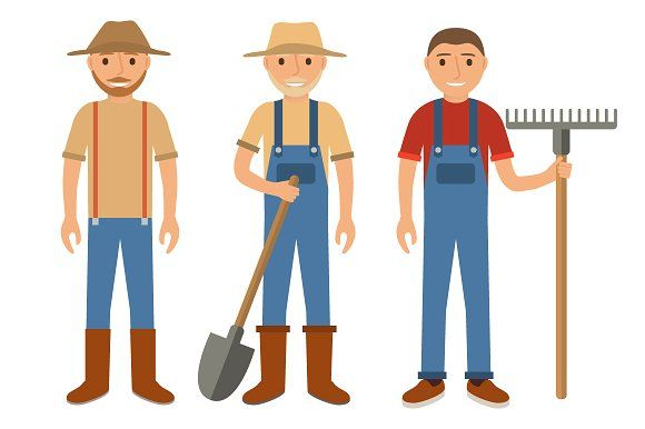 Farmers using agricultural tools by Dukesn on @creativemarket