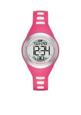 Skechers  Womens Pink Silicone Digital Watch