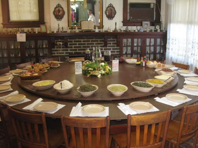 Can you imagine how cool this would be?!?! Yrs ago We ate Worm's Hilltop Restaurant near Shreveport, La. The dining tables were like these, sat 8 and 10 people with giany turntables in the middle.  Side dishes were served family style. Fried catfish was the house special.