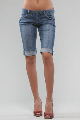 Womens Denim Knee Length Shorts