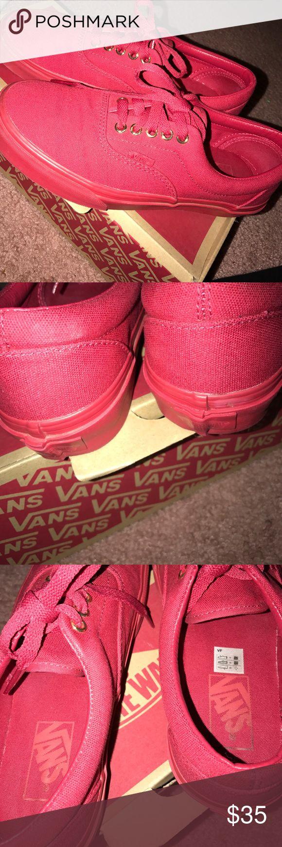 Red Vans Red Vans with gold detailing women's 8 men's 6.5 Vans Shoes Sneakers