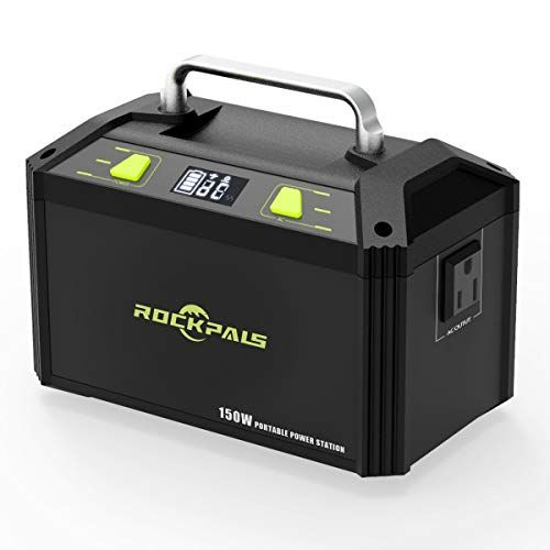 Rockpals 178wh 48000mah Portable Generator Cpap Battery Pack For Camping 150w Solar Power Generator Power Station With 110v Ac Outlet 12v Car Usb O Solar Power Station Solar Power Panels Solar