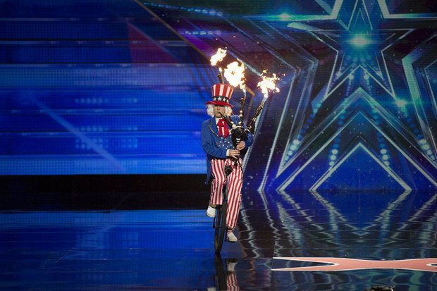 "Portland's Brian Kidd, also known as the Unipiper, will try and impress the ""America's Got Talent"" judges in Tuesday night's episode. Kidd is shown performing at the Dolby Theater, in Los Angeles."