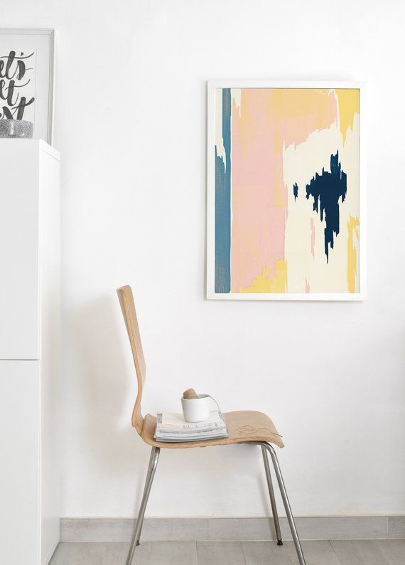 Pastel Abstract Painting Scandinavian Art Blush Pink And Navy Painting Blue And Yellow Art Abstrac Scandinavian Paintings Teal Wall Art Shipping Art Prints