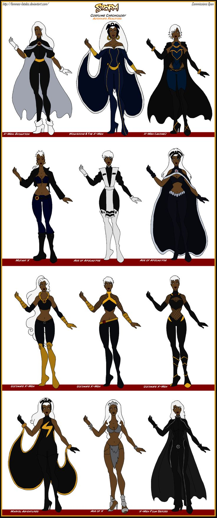 Storm - Alternate Realities Costume Chronology by Femmes-Fatales on DeviantArt