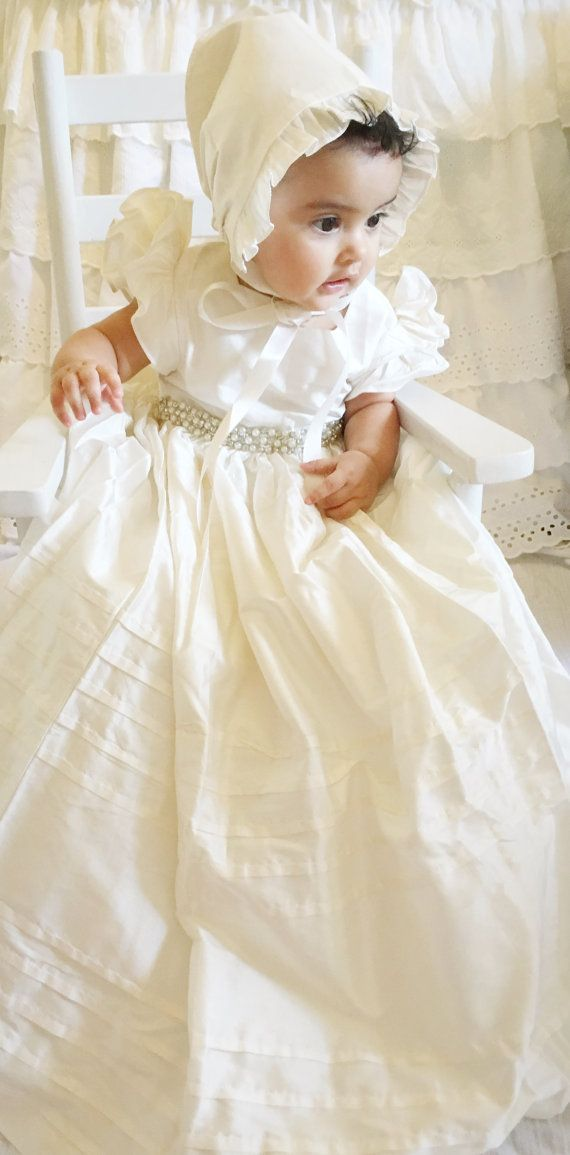SILK Christening Gown Baptism Gown with Beaded Lace 0-3