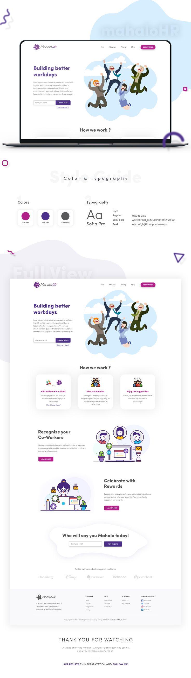 Consultez ce projet @Behance: « MahaloHR - website design » https://www.behance.net/gallery/62628159/MahaloHR-website-design