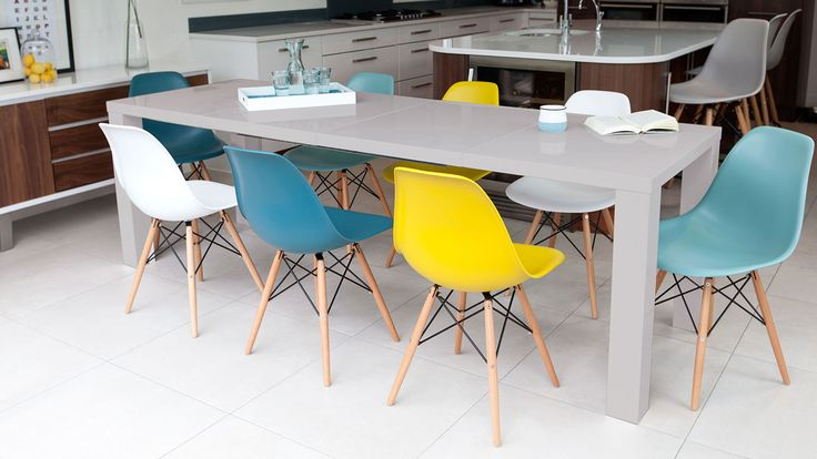 charles eames dining chairs teal and grey around tbale - Google Search