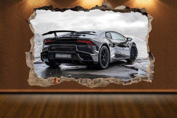 Wand Riss Aufkleber Lamborghini Aufkleber Lamborghini drucken Muscle Car Sportwagen Kunst Autos an der Wand Kunst Autos Wanddekor Lamborghini Kunst Autodekor   – Happy Pinning