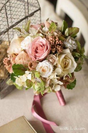 アンティークピンク ローズバジル ラウンドブーケ bridal bouquet