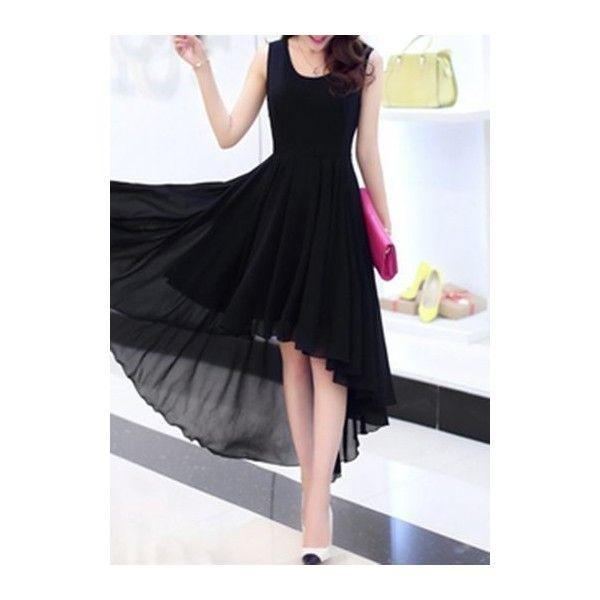 Rotita Black High Low Sleeveless Chiffon Dress (39 AUD) ❤ liked on Polyvore featuring dresses, black, chiffon knee length dress, mullet dresses, chiffon dresses, sleeveless chiffon dress and pattern dress