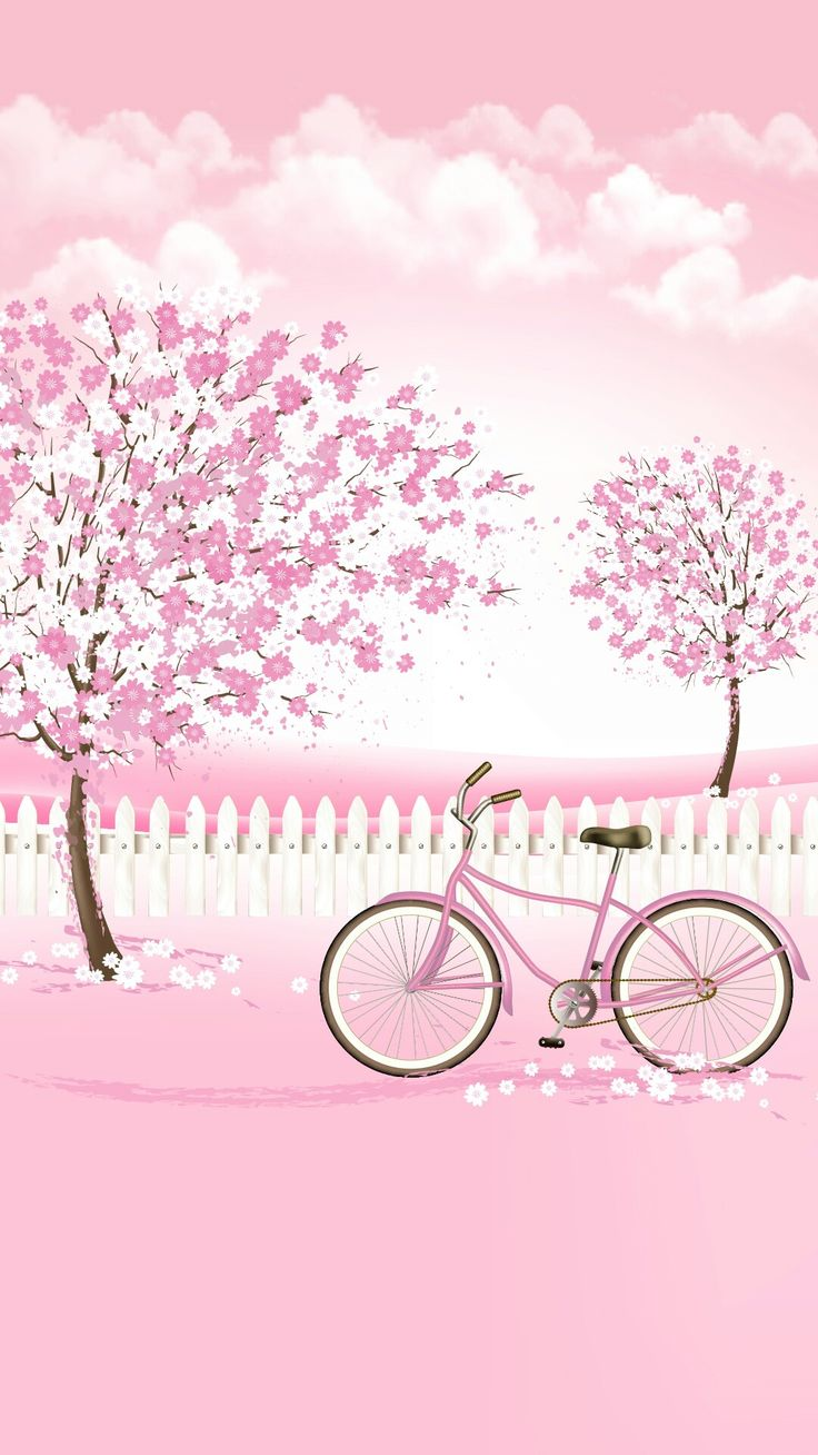 Wallpaper iphone cute pink - Pink Pink Pink Trees Clouds And Bike Cute Painting Idea