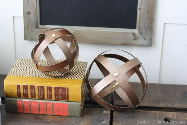 DIY Industrial Decorative Spheres Made From Cereal Boxes via @Taryn {Design, Dining + Diapers}