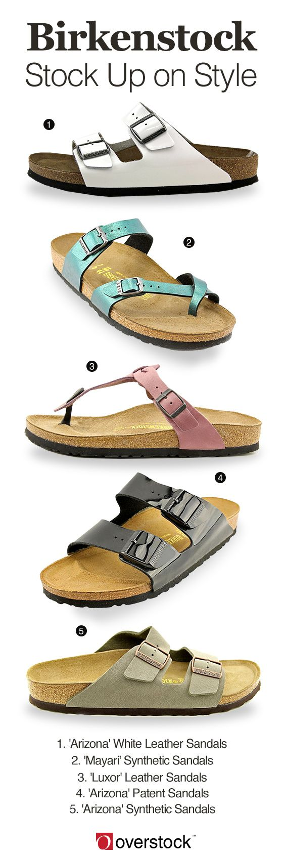 """Enjoy the sheer comfort of these relaxing sandals from Birkenstock. With deeply cushioned footbeds that are designed to fit the shape of your foot, these sandals provide extra support in a variety of colors in styles. Stay fresh with revised takes on the iconic two-strap """"Arizona"""" in white and patent leather or express your personal style in the colorful """"Mayari."""" Get free shipping and earn up to 5% rewards back when you join Club O."""