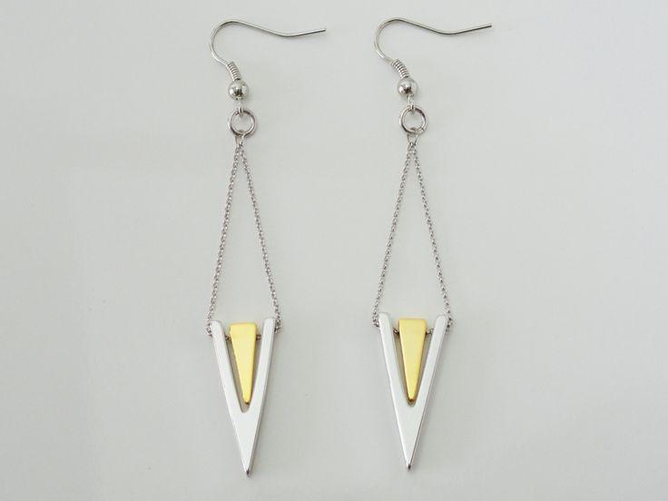 Geometric Earrings, Triangle Earrings, Triangle Dangle Earrings, Drop Earrings, Silver Earrings, Gold Earrings, Gift For Her, EMAN37 by PrettyMaNa on Etsy