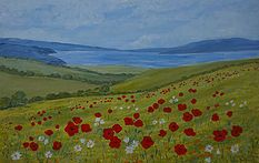Beautiful distant seascape, soft green fields, bright poppies and daisies. Canvas art for sale by janet davies  art seascapes wildflowers modern flower paintings