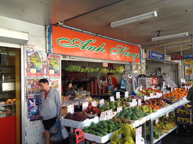 Anh Jang Greengrocer next door to Hai Yen Vietnamese Noodles at Little Saigon (South Terrace and Chapel Street South Precinct) in Bankstown just outside the Bankstown Railway Station.