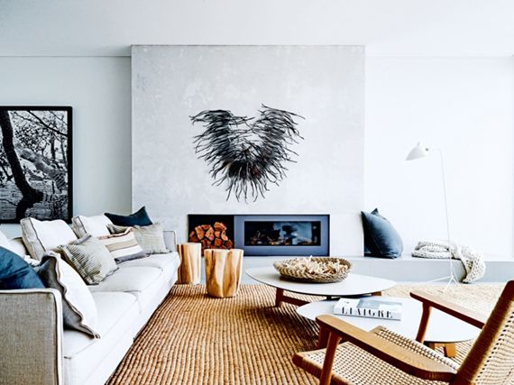 Eclectic beach home in Sydney. Living room. Photo by Anson Smart via Vogue…