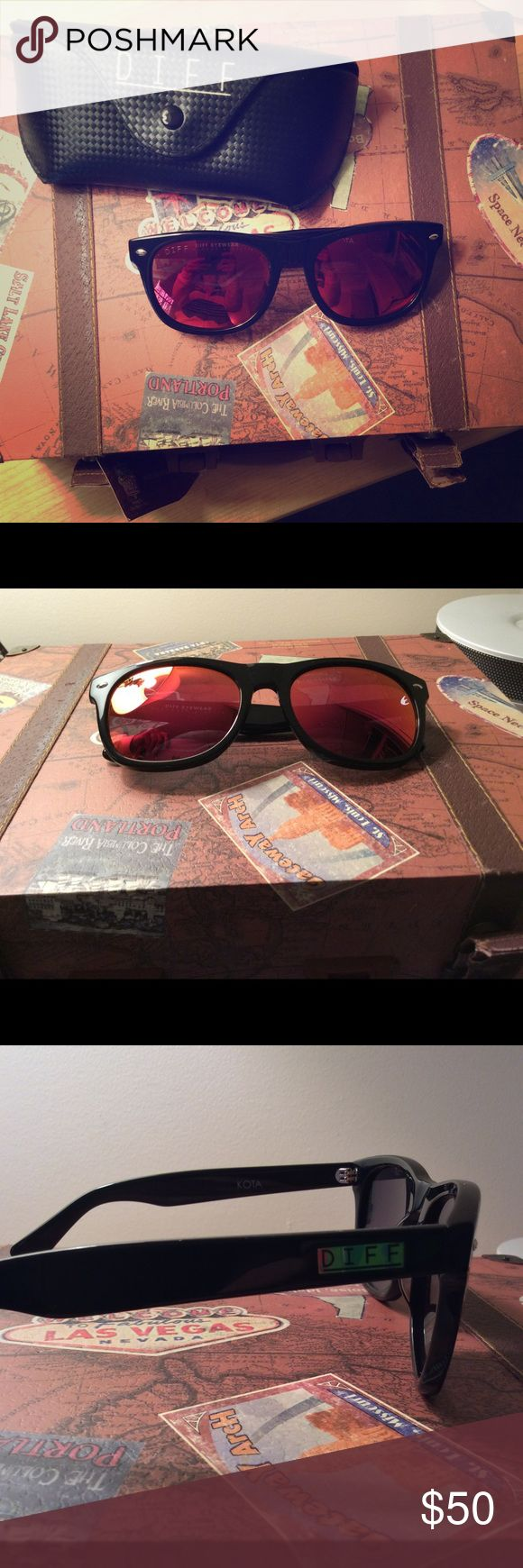 Original Diff Eyewear Kota Red Polarized glasses Original Diff Eyewear Kota Red Polarized glasses. These were worn twice. Comes with original case just no wipe for lenses. Excellent condition! Diff Eyewear Accessories Sunglasses