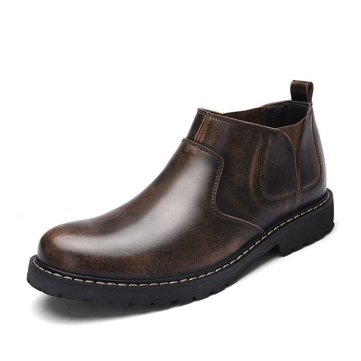 Men Vintage Stylish Slip On Round Toe Leather Ankle Work Boots