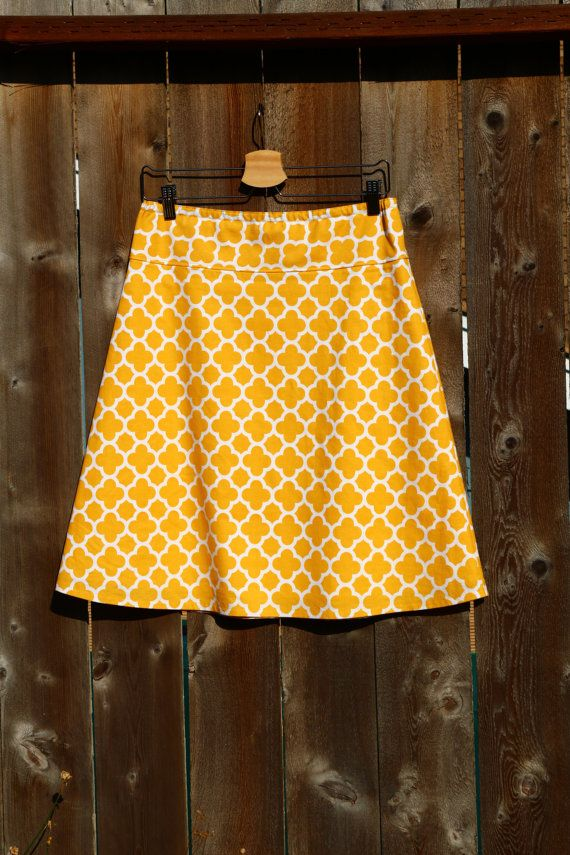 A Line Skirt Geometric Quatrefoil in Mustard Choose any