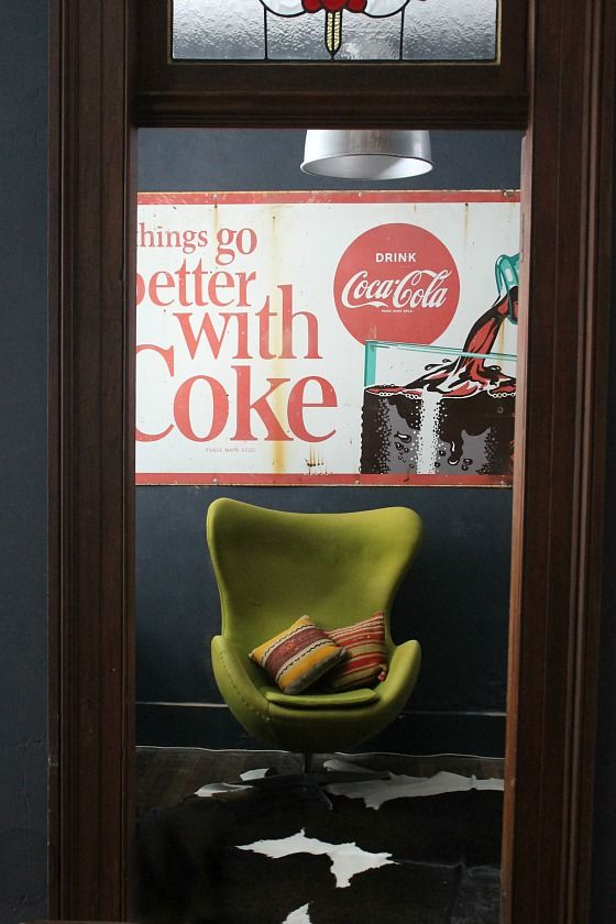 I love bright pops of colour against a sombre background.  And the vintage cola sign is fabulous too!