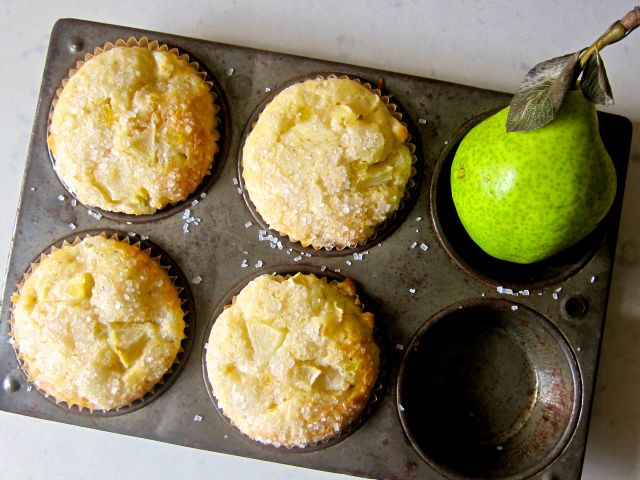 Pear Muffins with Crystalised Ginger