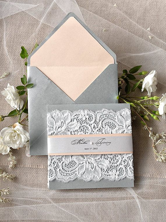 Lace Romantic Wedding Invitations (20) ,  Silver Peach Invites, Lace Wedding Invitations , Vintage Wedding invitation 4lovepolkadots,