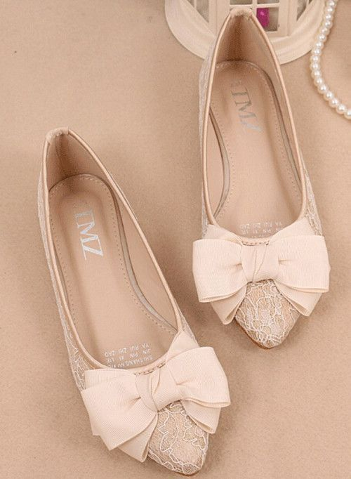 Ivory Bow Lace flats Shoes 20f70031eee3
