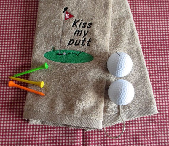 Custom Embroidered Golf Towel  Kiss My Putt  by CreativeSenseCom