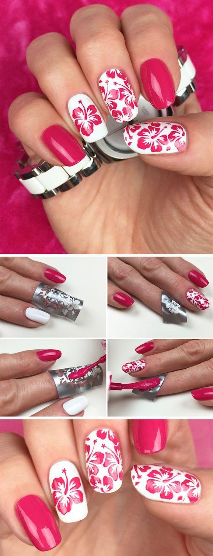 Nagelmuster, Nageldesign in Pink und Weiß mit Blumen – Beauty – Make Up