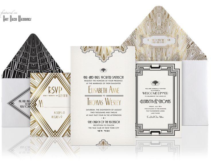 Gold foil, black and white Art Deco Wedding Invitation || Ellington by Atelier Isabey || Deco Weddings