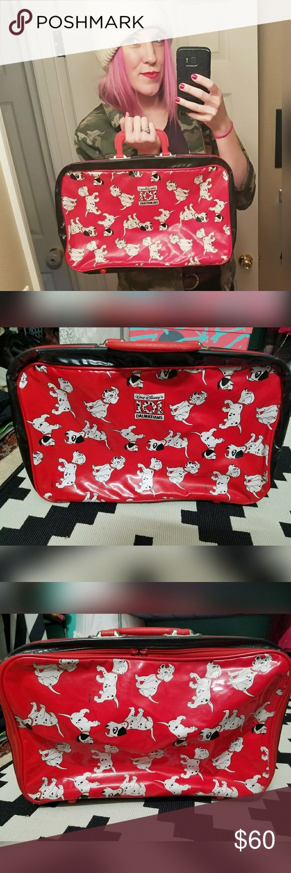 VINTAGE, DISNEY, 101 Dalmatians, kid's suitcase!! This is so great!  Disney, 101 Dalmatians, vinyl, kid's overnight bag. In good vintage condition. Some rust on hardware. Zipper pulls are missing but still zips up. Some marks on vinyl. Nothing major. Disney Bags Travel Bags