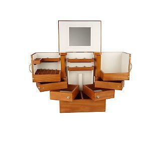I love this make up organizer ! It's the best !       Luxury Deluxe Wood Cosmetic Box w/Mirror by Lori Greiner - QVC.com