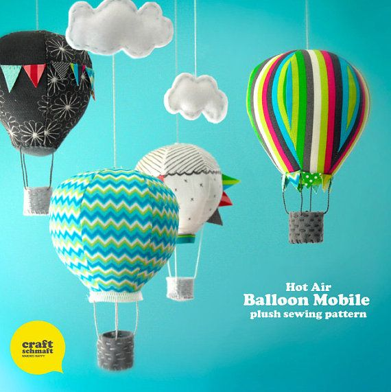 Hot Air Balloon Mobile Pattern PDF by CraftSchmaft on Etsy, $9.00